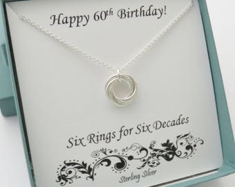 60th Birthday Gifts for Women, 60th Birthday Necklace, Sterling Silver, Gold, Rose Gold, 6th anniversary, 60th anniversary,Six Rings,6 rings