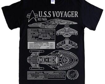 STAR TREK - Voyager - S - 5XL T-shirt - NCC-74656 Captain Janeway, blueprints, schematics spec & stats