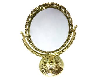 Vintage Oval Mirror With Stand Double Sided Mirror Two Sided Mirror Vanity Mirror Vintage Mirror Gold Mirror Gold Tone Victorian Style