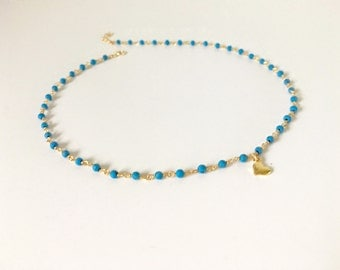 Gold Turquoise Beaded Chain Gold Choker with Tiny Gold Vermeil Heart, Dotted Choker, Gold Beaded Choker, Silver Beaded Choker