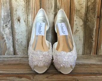 Open Toe Lace Beaded Flat Satin and Lace Bridal Shoe Peep Toe Lace Wedding Flat Shoe