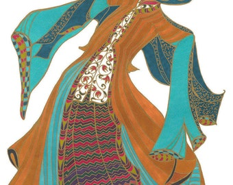 Turkish dancing girl in multi colours A3 Giclee print