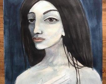 Original Watercolor Portrait - Pensive woman, beauty, Serene, salitary, gazing