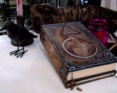 Ourobors TriFold 670p Geotic Lined Blank Book of Shadows, Hand Painted Grimoire