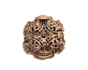 Vintage FREIRICH Brooch Large Puff Filigree Pin Antiqued Gold Tone Estate Jewelry