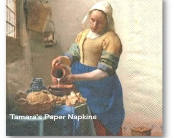 4 Decoupage Napkins, Lunch Paper Napkins, THE MILKMAID VINTAGE 33cm 13 Inch. 2000 Designs for Papercraft, Visual Arts and Collage