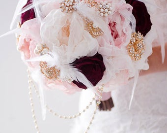 Custom Blush Fabric Flower Bouquet, Burgundy Silk Flower Bouquet, Brooch Bouquet, Fabric Bouquet, Bridal Bouquet, Cascading Broach Bouquet