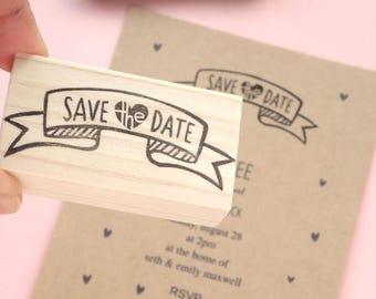 Save the date rubber stamp invitation kit, Hand letterning design, Handmade wedding decoration