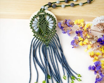 Fringe macrame necklace, micro-macrame jewelry, long, beaded, bohemian, boho chic, free spirit, beadwork, black hematite olive green gray