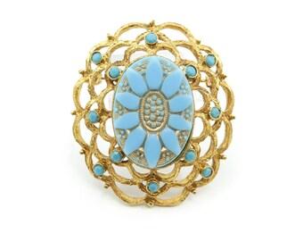 Vintage Blue Flower Brooch, Glass Cabochon, Blue Rhinestones, Gold Tone