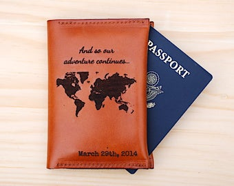 3rd Anniversary Wedding Gift, Passport Holder, And So The Adventure Continues, Gift For Third Anniversary, Leather Anniversary For Him