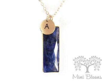 Blue Sapphire Necklace, September birthstone, Sapphire Necklace, sapphire pendant, gemstone pendant, gemstone necklace, initial necklace