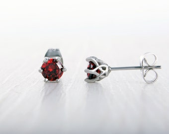 Natural Garnet stud earrings, available in titanium, white gold and surgical steel 4mm, 5mm, 6mm sizes