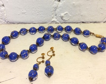 Vintage Blue Copper Fleck Venetian Murano Glass Necklace And Earring Set Made In Italy 1950's