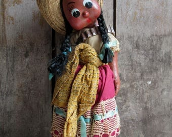 1960's Mexican Painted Oil Cloth Doll & Baby, Papoose, Folk Art Doll, Ethnic Doll,World Doll,Souvenir,Mother,Girl,Ammo Belt,Big Eyes,Kitschy
