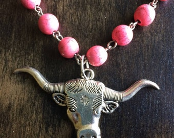 Pink & Silver Longhorn Choker Necklace