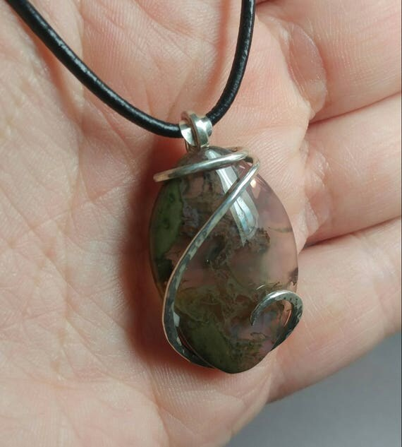 Moss Agate Pendant   Sterling Silver Necklace   Simple Stone Pendant   Oregon Thunderegg Jewelry   Gift for Her   Agates with Inclusions