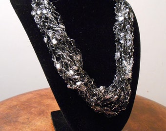 Black, white and silver Trellis Necklace / Crochet Necklace Item No. 116a
