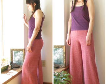 Vintage 70s Palazzo Pants / 1970s wide leg bell bottoms / maroon high waisted pants  Size XS S