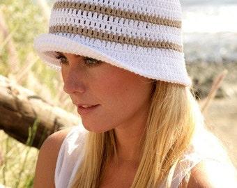 Summer outdoors Bucket hat White Sun hat Womens Brim hat Floppy hat Cotton hat Summer hat Beach hat Hemp hat Spring hat Straw hat Chemo hat