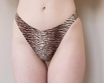 Vintage High Waisted Cheetah Print Bathing Suit Bottoms