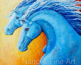Running horses wall art print, colorful modern horse painting on canvas, Original painting by Nancy Quiaoit at Nancys Fine Art.