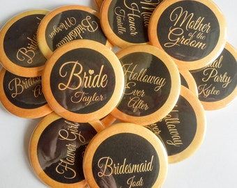 """2.25"""" Gold and Black Bachelorette Wedding Party Personalized Buttons"""
