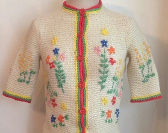 Vintage 1940's Wool Folk Cardigan with Cotton Embroidery/40s/40's