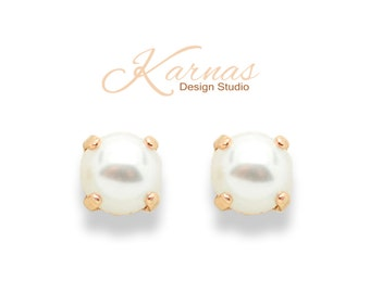 CRYSTAL WHITE PEARL 8mm Drop or Stud Earrings Made With Swarovski Elements *Pick Your Finish *Karnas Design Studio *Free Shipping*