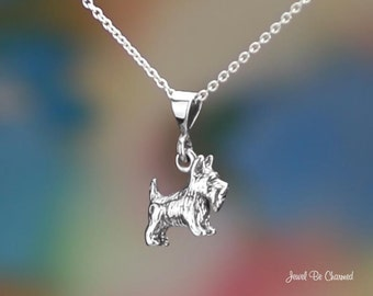 """Sterling Silver Scottish Terrier Necklace 16-24"""" or Pendant Only .925"""