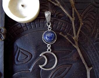 Galaxy Pendant, Lapis Lazuli Pendant, Moon and Lapis Lazuli, Indigo Blue Stone Pendant, Moon Witch