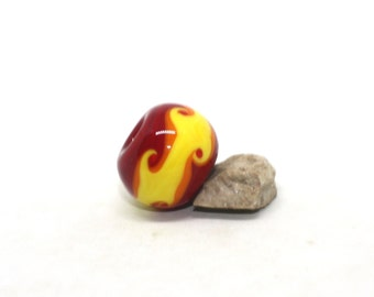 Focal Bead With Large Hole, 17 mm, Red Orange Yellow, Glossy Opaque Handmade Lampwork Glass Donut Beads