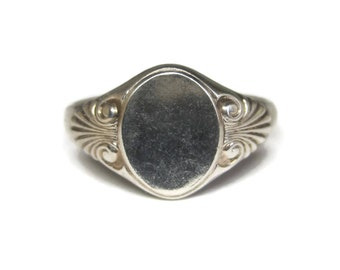 Vintage 90s Sterling Engravable Initial Ring Size 8 Kabana
