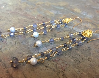 Gold chandelier statement earrings with iolite gemstones and freshwater pearls