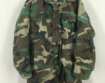 Vintage US Military M-65 Woodland Camo Field Jacket Size Small Long