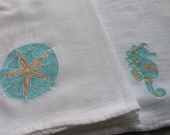 Flour sack towel, beach kitchen, sand dollar, sea horse, kitchen towel, tea towel, sea life, ocean kitchen decor, embroidered towel, beach