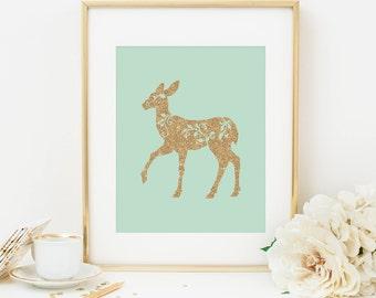 Deer Printable Deer Wall Art Woodland Nursery Decor Woodland Wall Art Woodland Animal Print Forest Animal Mint Nursery Decor Gold Glitter