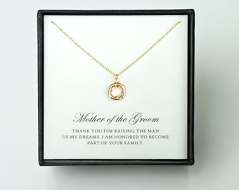 Mother of the Groom Gift from Bride - Gold Glass Necklace, Wedding Jewelry Gift & Thank You Card/ Wedding Day Gift for Mother in Law