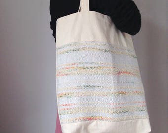 Roomy hand woven detail tote bag