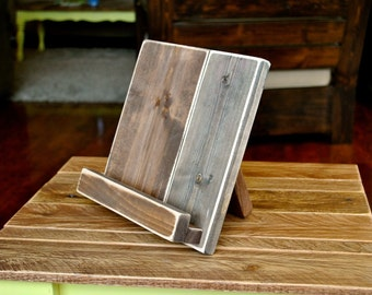 Wood Tablet or Cookbook Stand for the Kitchen or Office - Lightly Distressed Wood - 3 SIZES AVAILABLE - iPad Stand