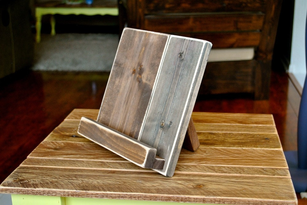 Distressed Wood iPad or Cookbook Stand for the Kitchen or Office - 3 SIZES  AVAILABLE - - Wood Cookbook Stand Etsy