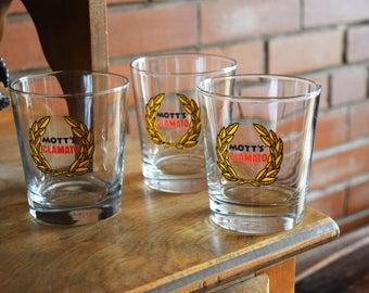 Mott's Clamato Drinking Glasses - Set of 3 - Vintage Alcohol Glasses - Bloody Caesar Cups - MOTTS