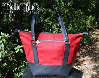 Waxed Canvas Tote / Shoulder Bag in Red Waxed Canvas with Leather Trim (Ready to Ship)