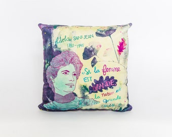 "Pillow cover Idola St - Jean 18 x 18 "", velvet, colorful, quote feminist, purple"
