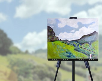 New Zealand Painting on Canvas, Summer Hills, summer sky, clouds, green landscape, original art, wall art, unique gift, free shipping