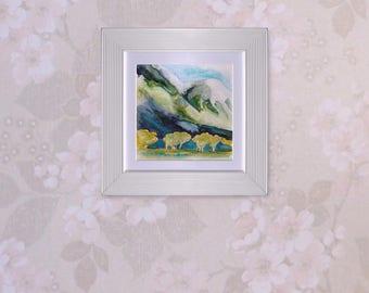 Small Watercolour Painting, original landscape art unframed, 5x5 square art, mountains trees, The Golden Hour, home decor, office decor