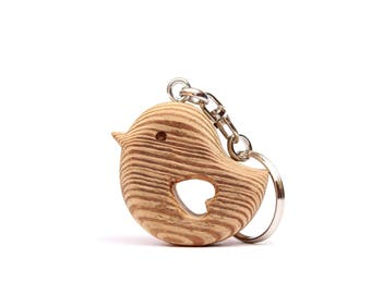 Bird shaped rustic Bio Larch wood Keychain