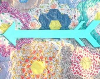 Blue Wooden Arrow Cut-out, Turquoise Arrow Decor, Boys Room Decor, Nursery Decor, Wooden Wall Hanging