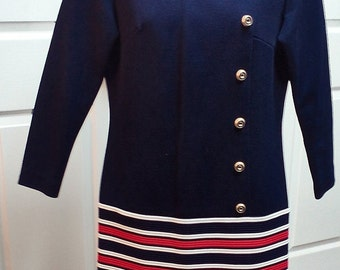 Beautiful Vintage Red  White and Blue Bleeker Street Mod Dress Patriotic Clothing Dress