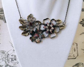 Flower Trio Necklace with Gems
